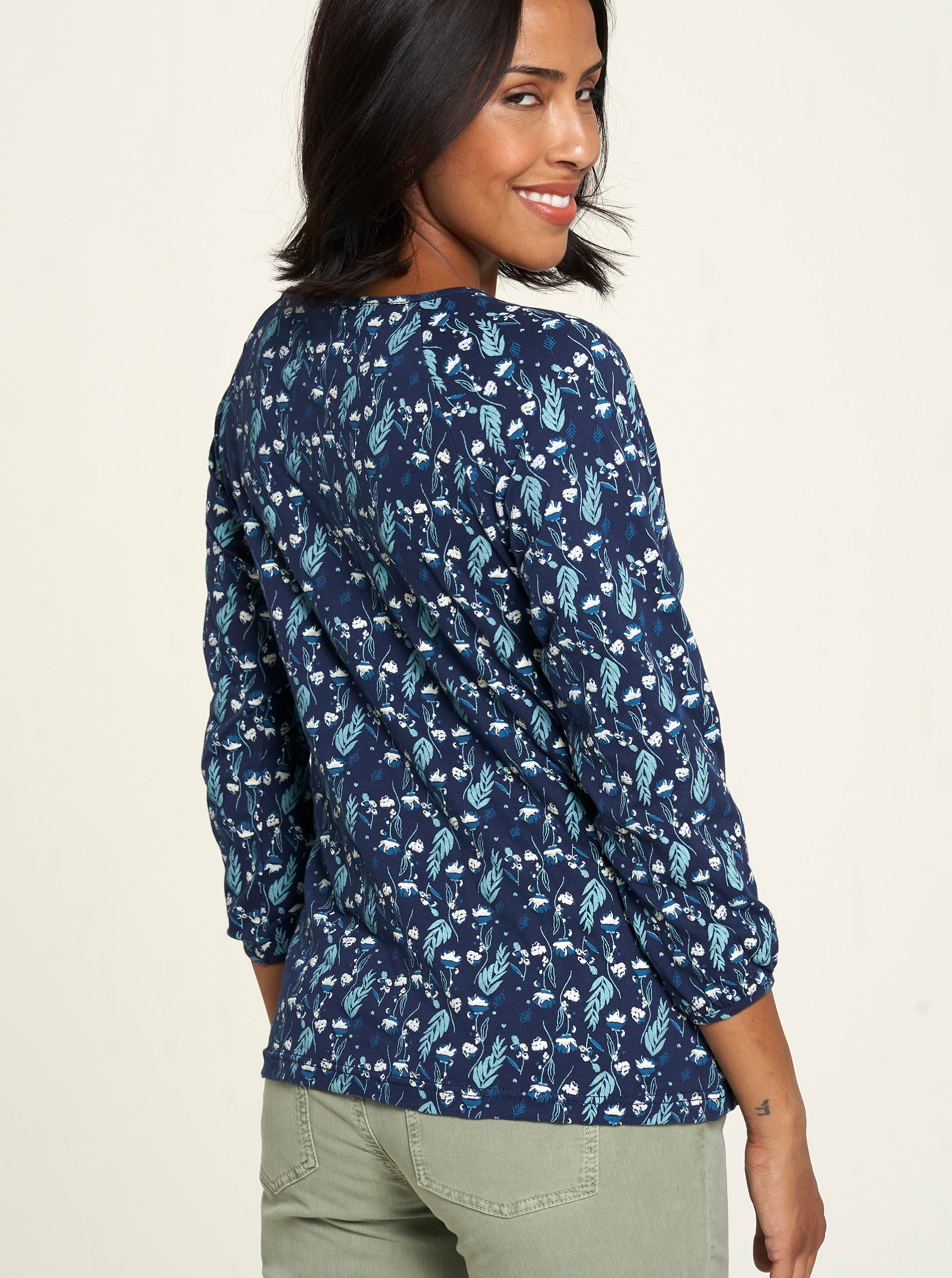 Tranquillo blu maglietta con motivo floreale