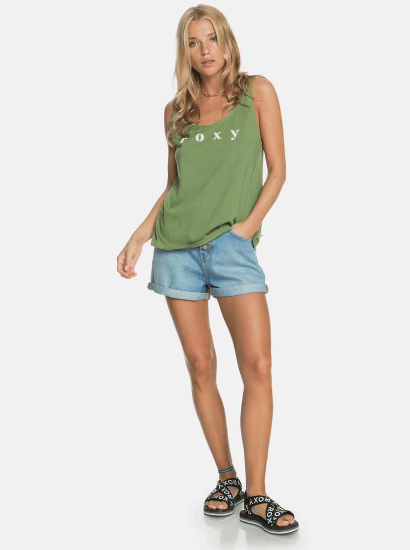 Roxy verde canottiera con stampa
