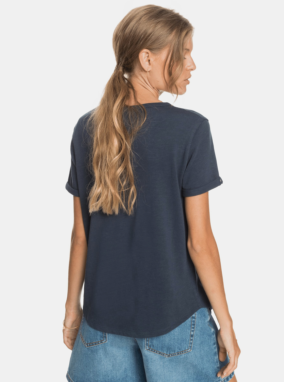 Roxy blu maglietta con stampa