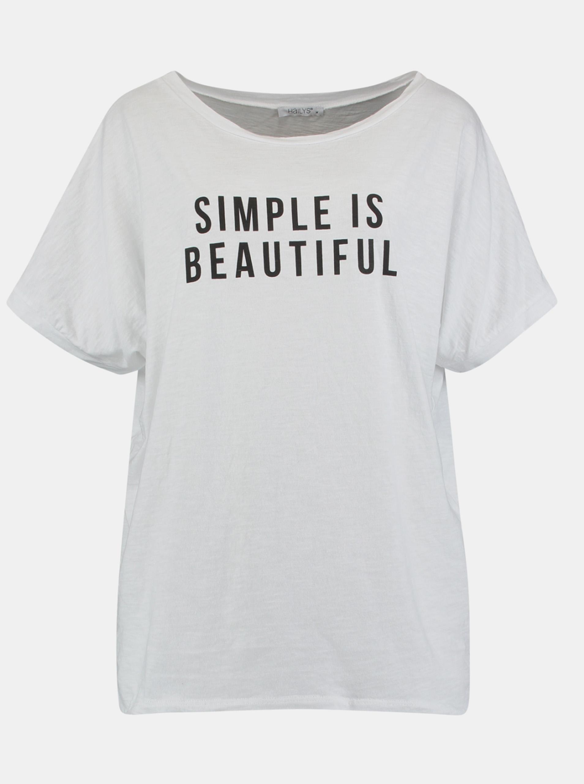 Hailys bianco maglietta con stampa