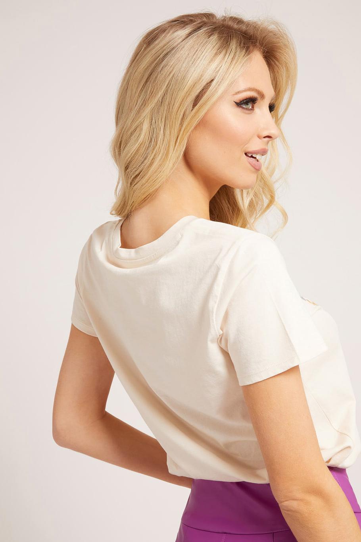 Guess beige maglietta Rosses con stampa