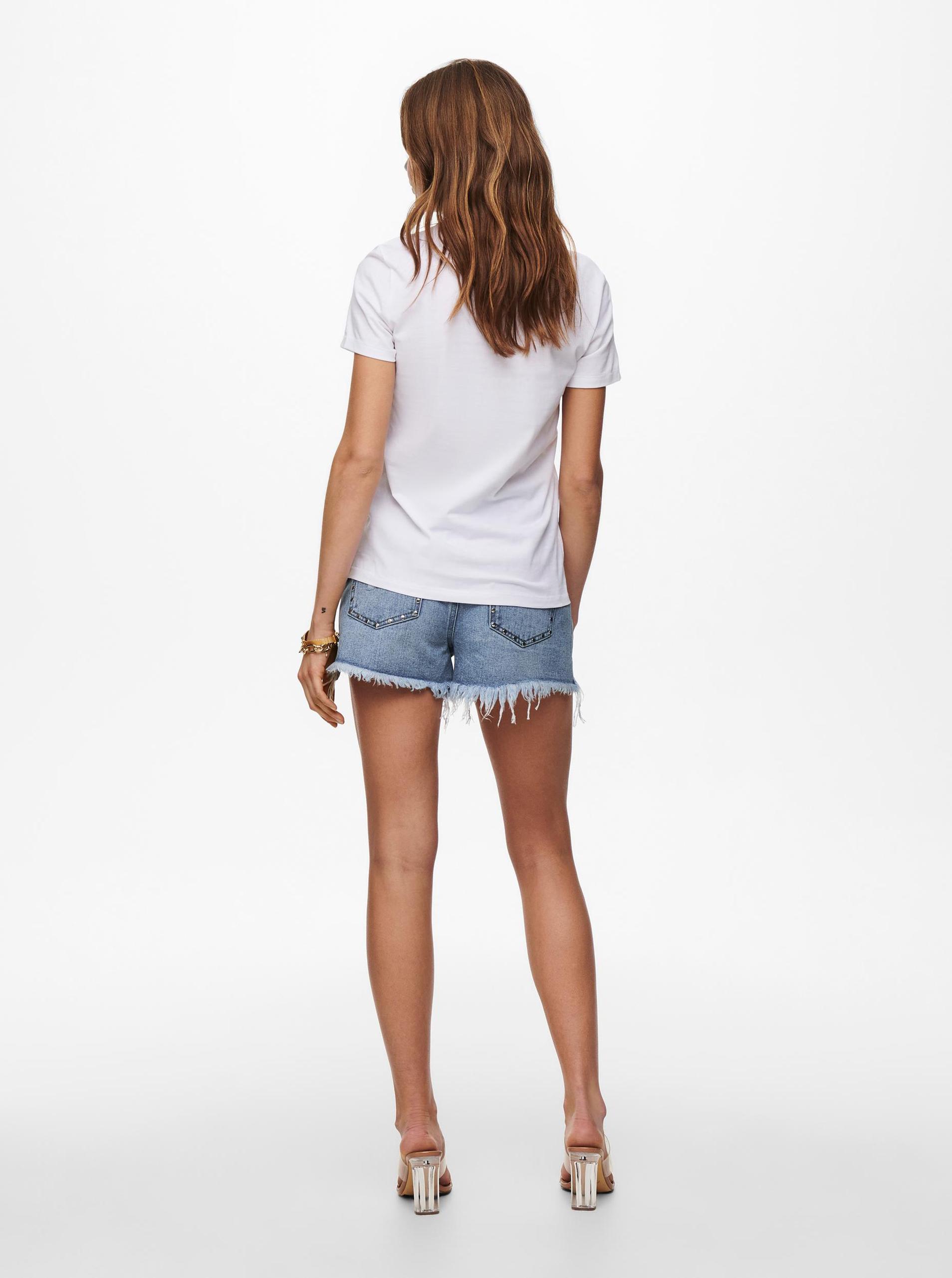 Only bianco da donna maglietta Lana con stampa