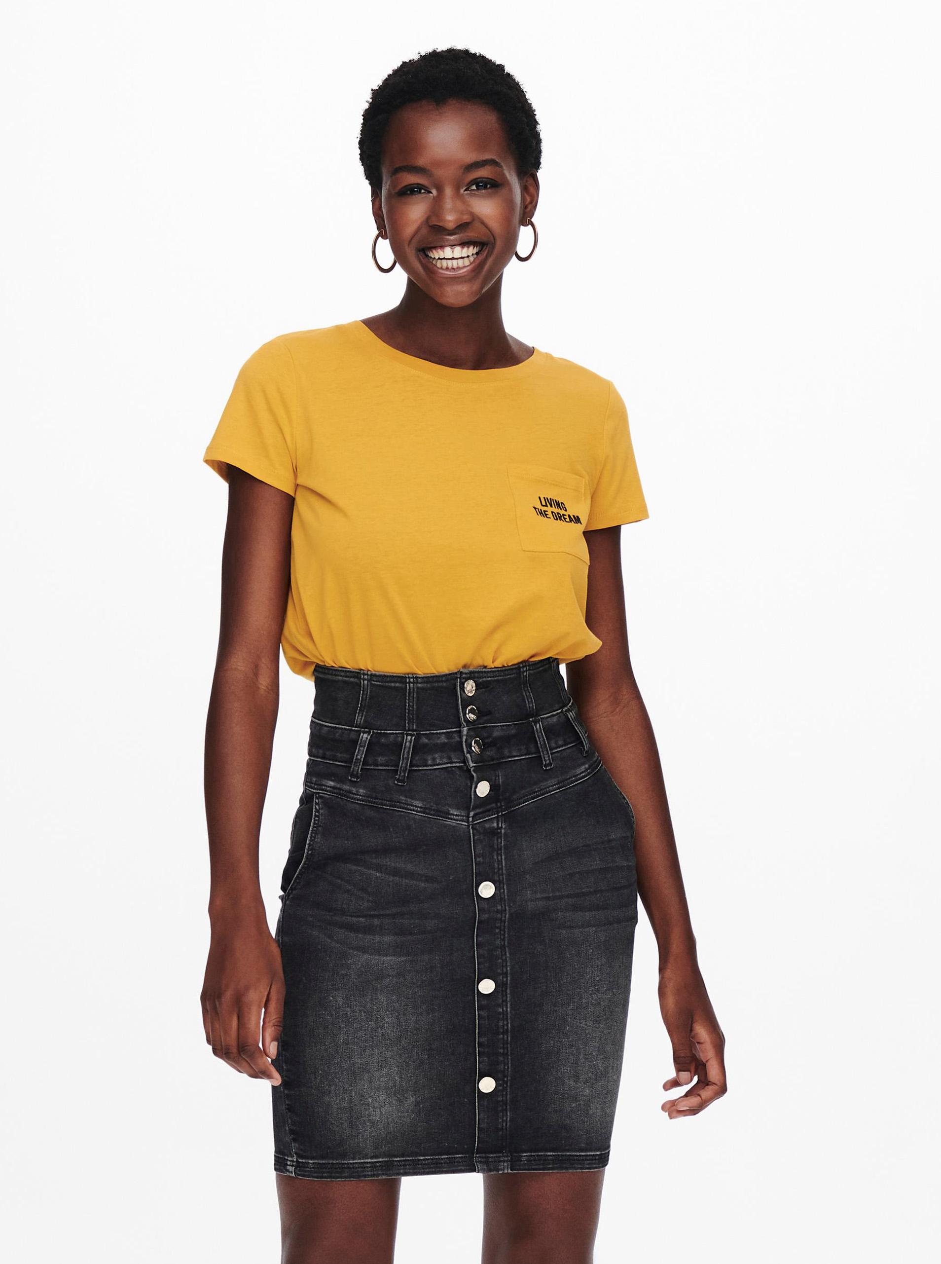 Jacqueline de Yong senape maglietta Dina