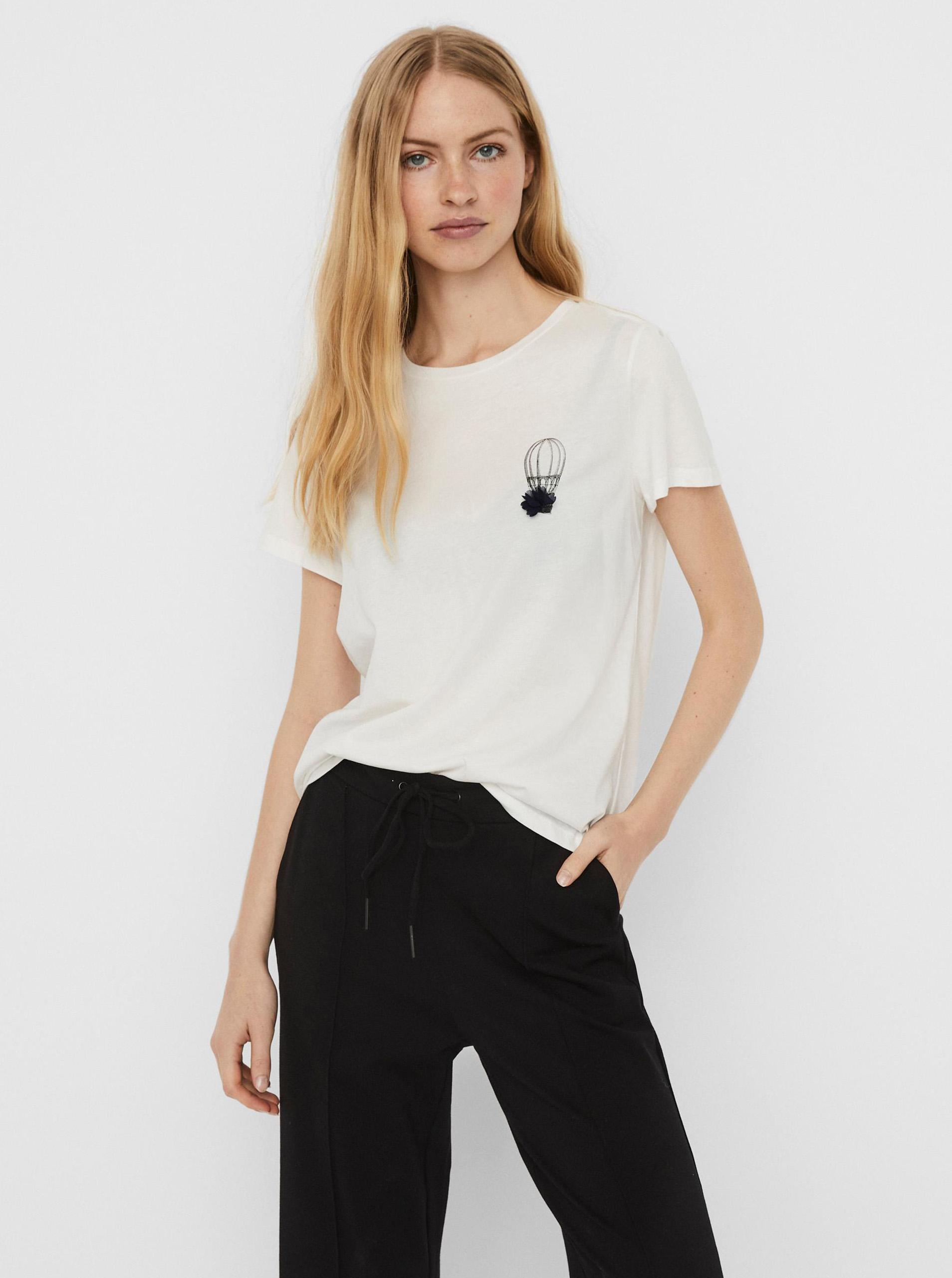 Vero Moda bianco maglietta Donna con stampa