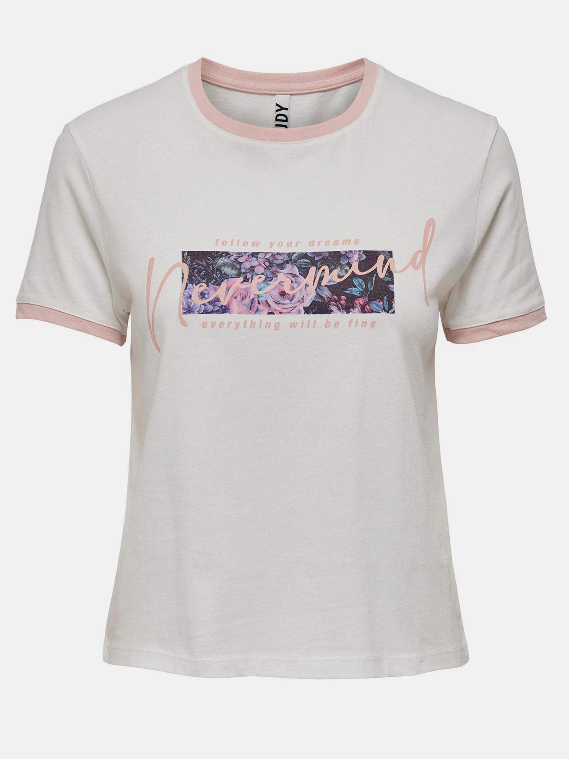 Jacqueline de Yong bianco maglietta Nuka con stampa