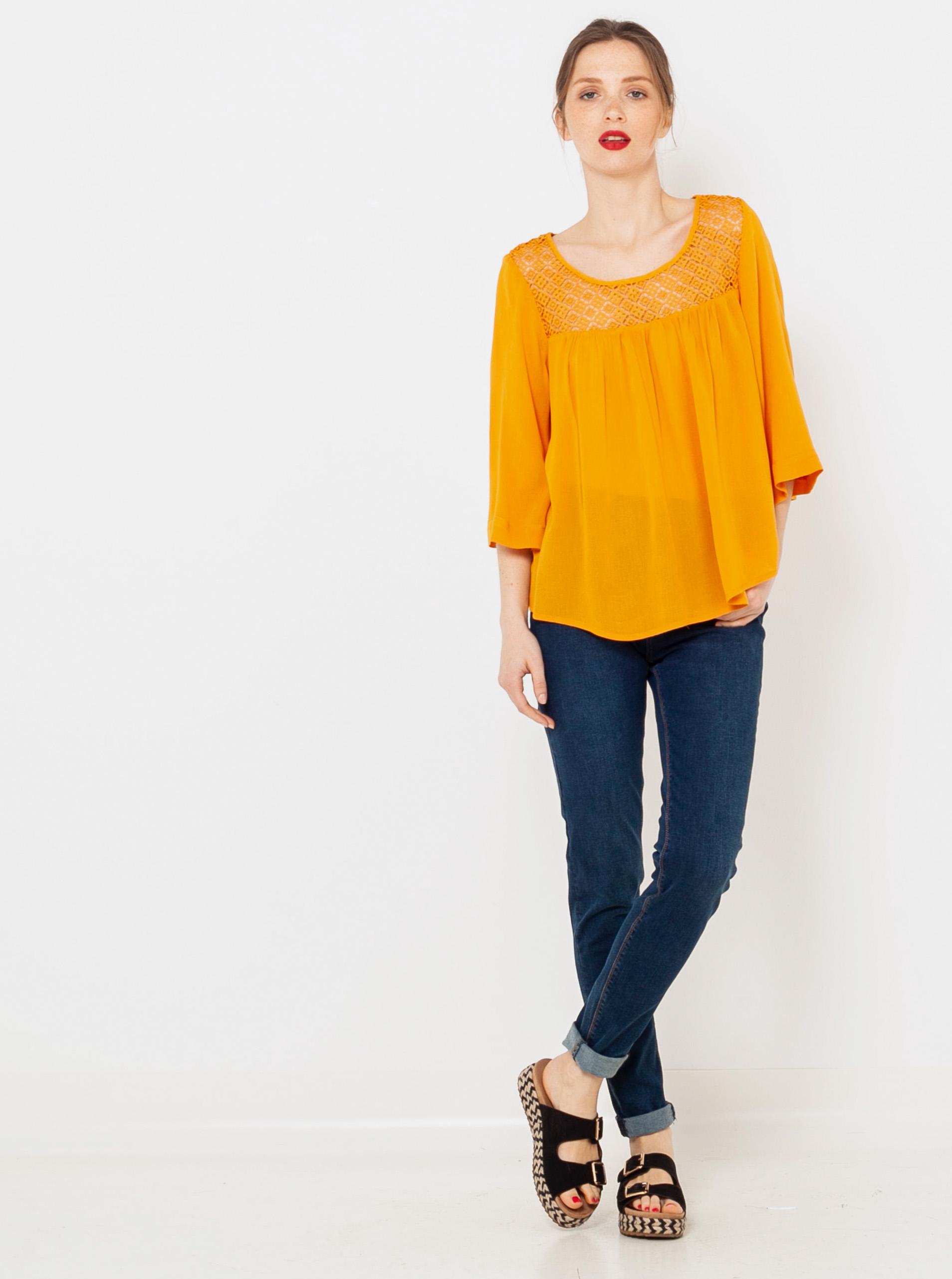 CAMAIEU arancione camicetta