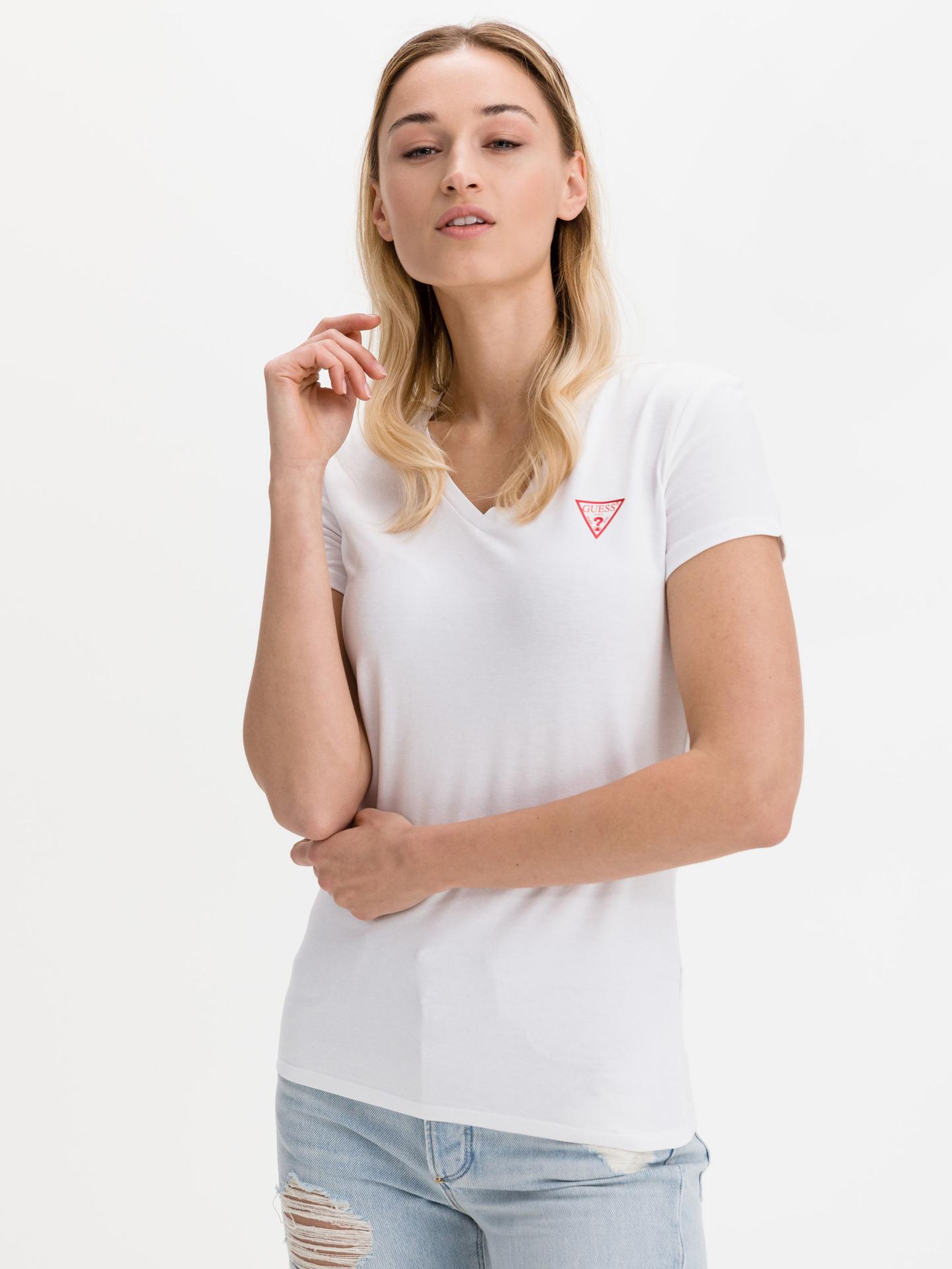 Guess bianco maglietta Mini Triangle