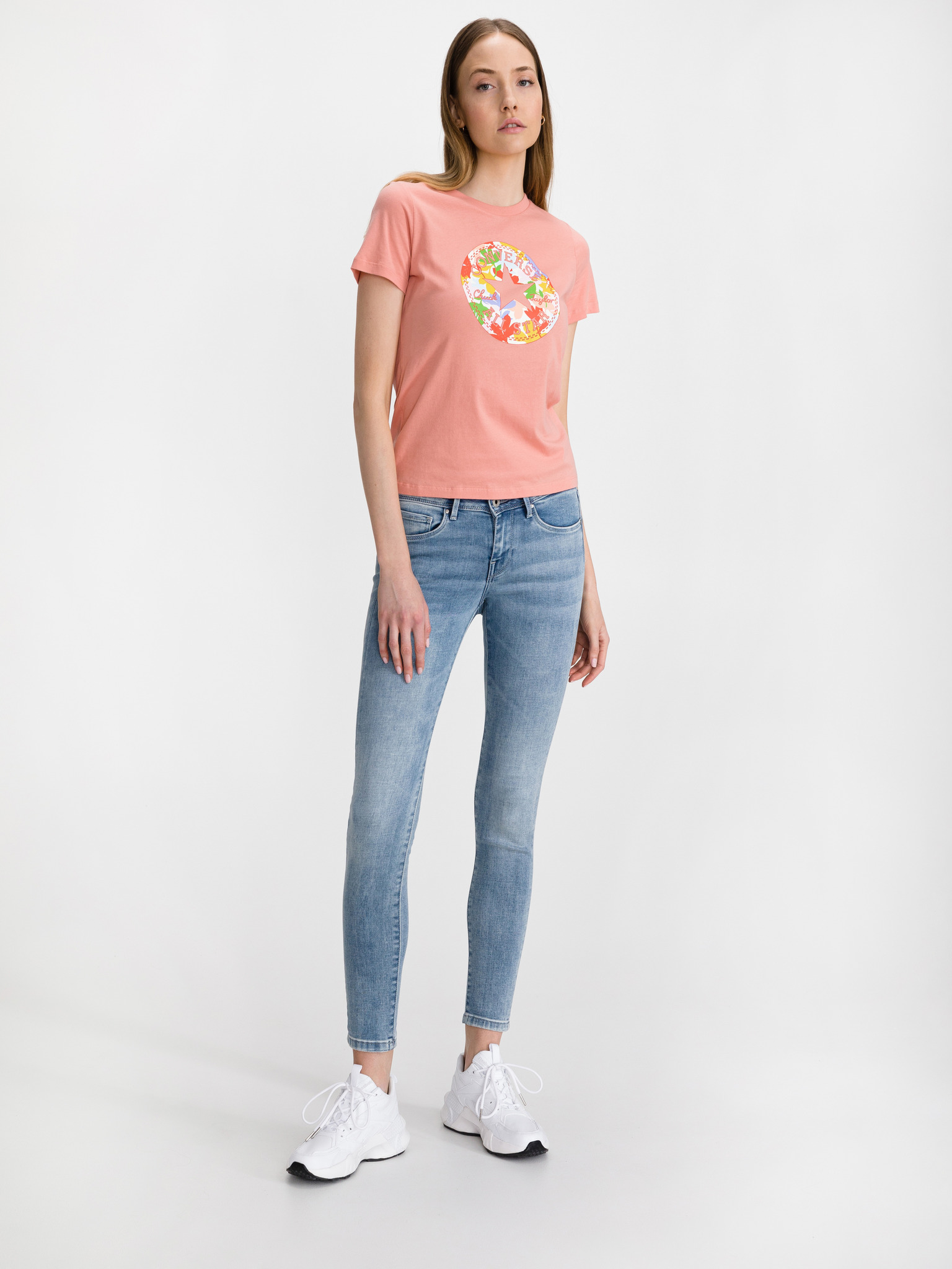 Converse rosa maglietta Flower Vibes Chuck Patch