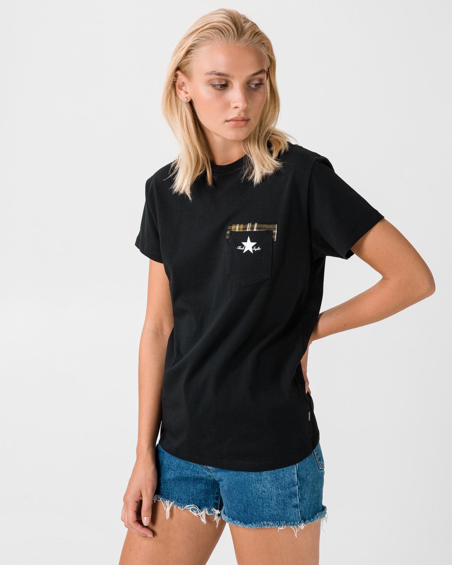 Converse nero da donna maglietta Plaid Pocket