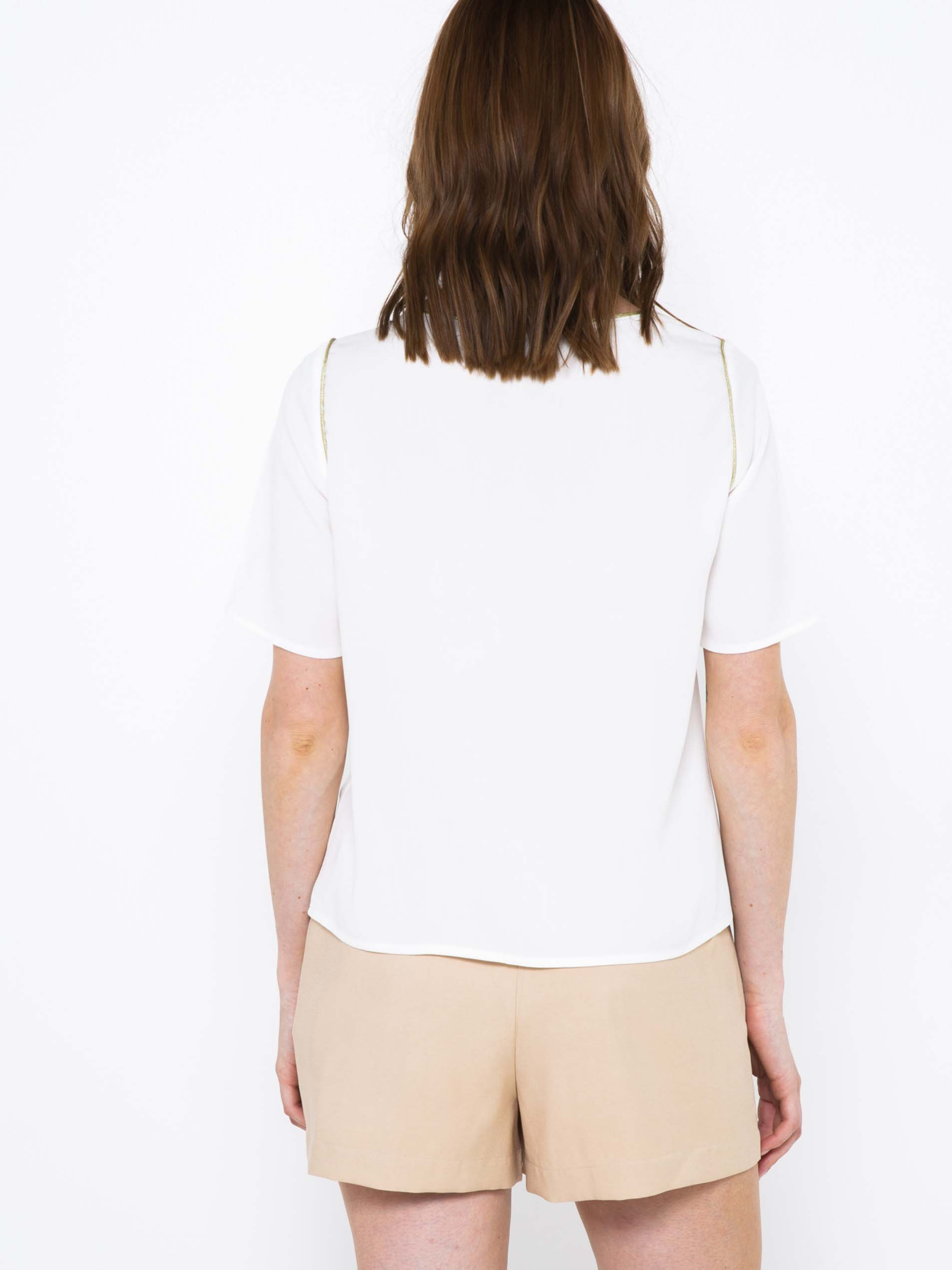 CAMAIEU bianco camicetta con ritagli