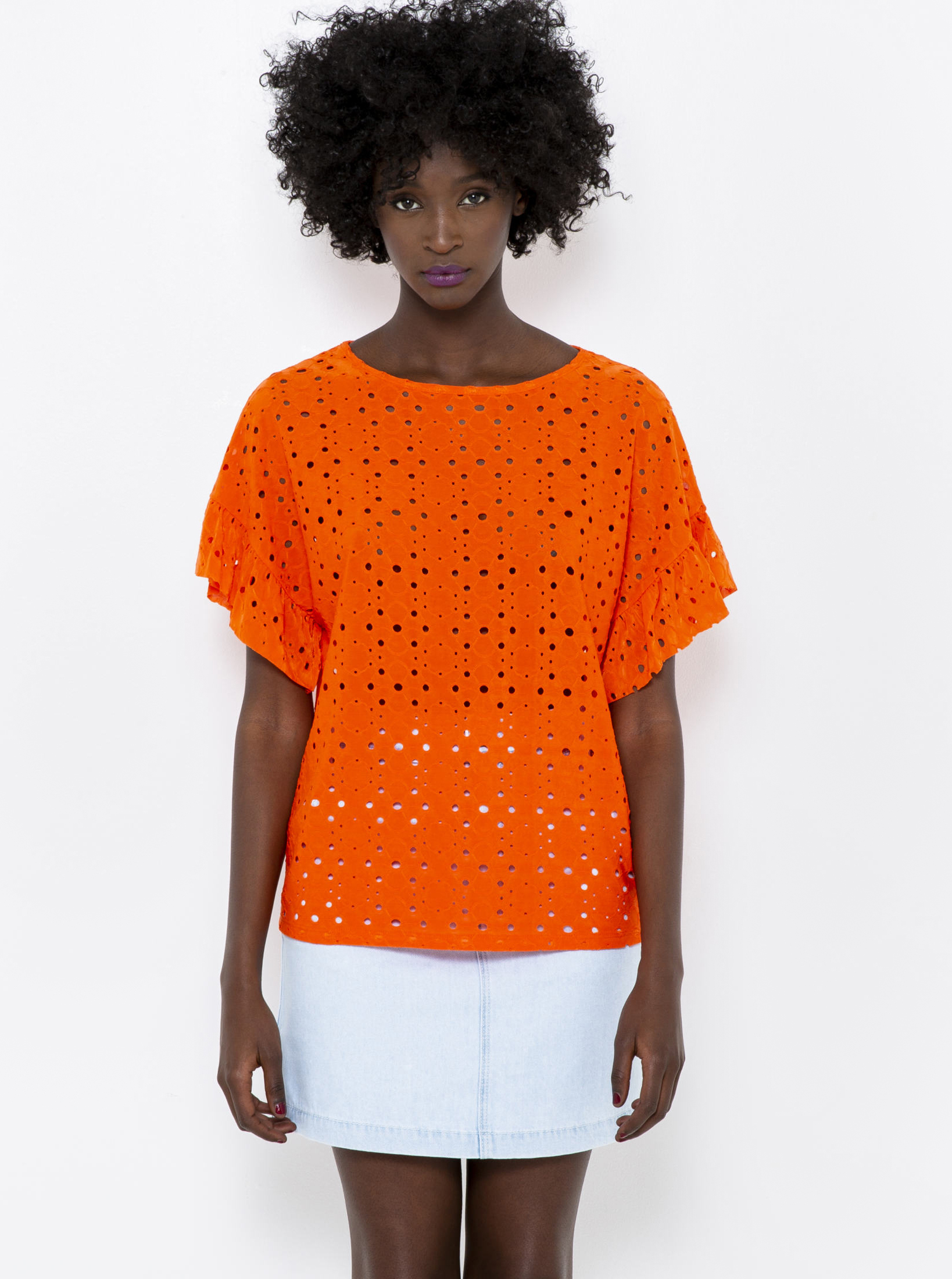 CAMAIEU arancione camicetta con il legno