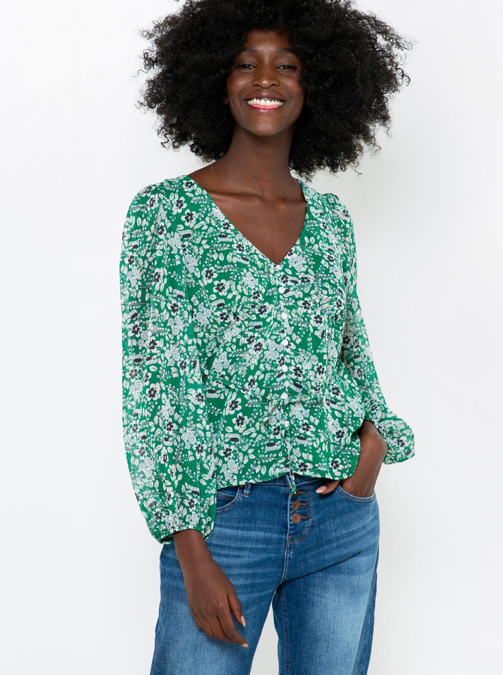 CAMAIEU verde camicetta con motivo floreale