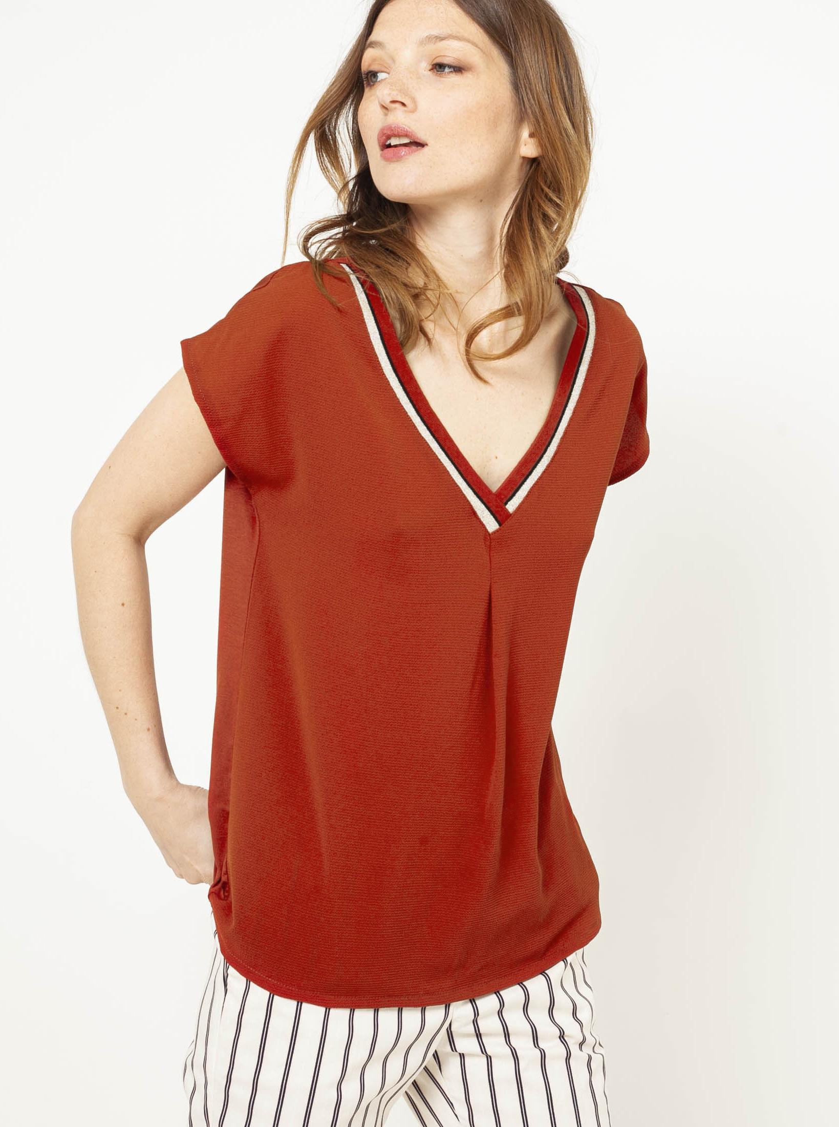 CAMAIEU Blusa donna rosso mattone