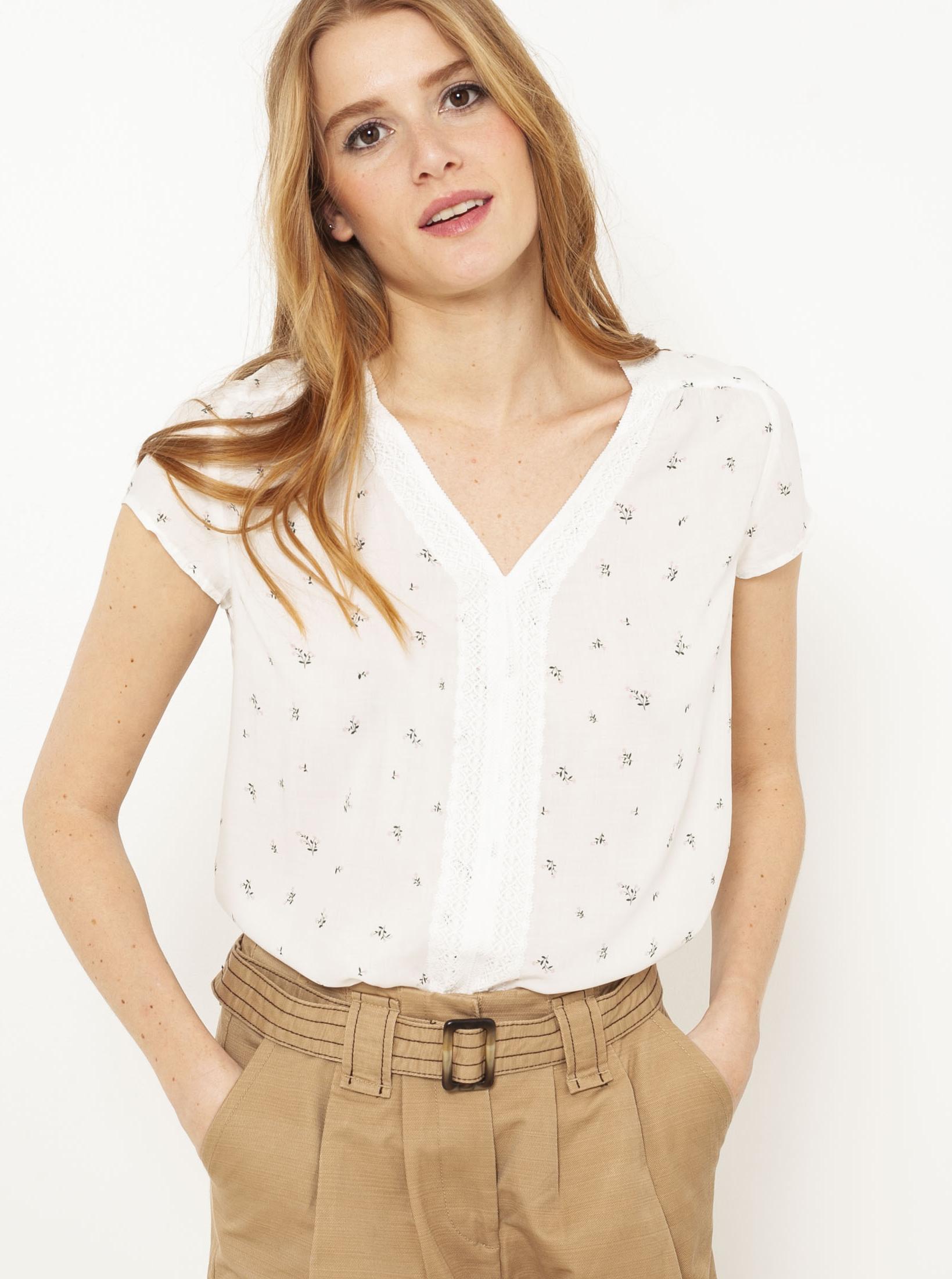 CAMAIEU bianco camicetta con motivo floreale