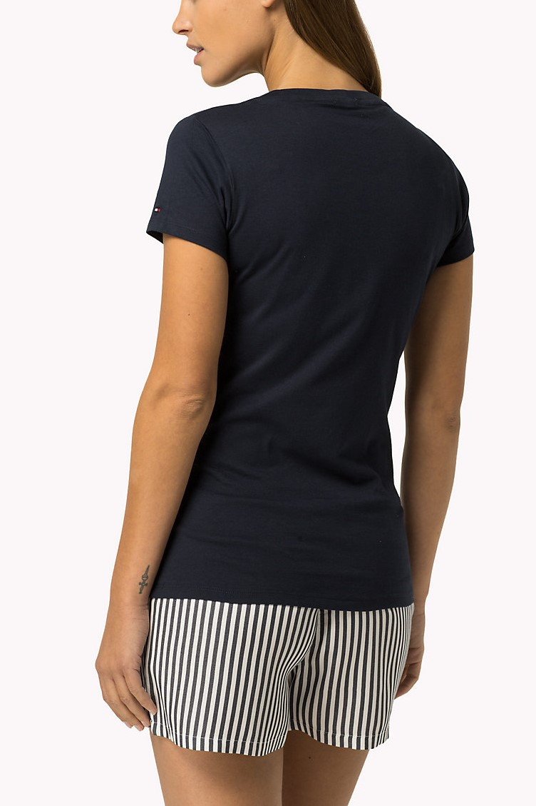 T-shirt con stampa Tee blu scuro di Tommy Hilfiger