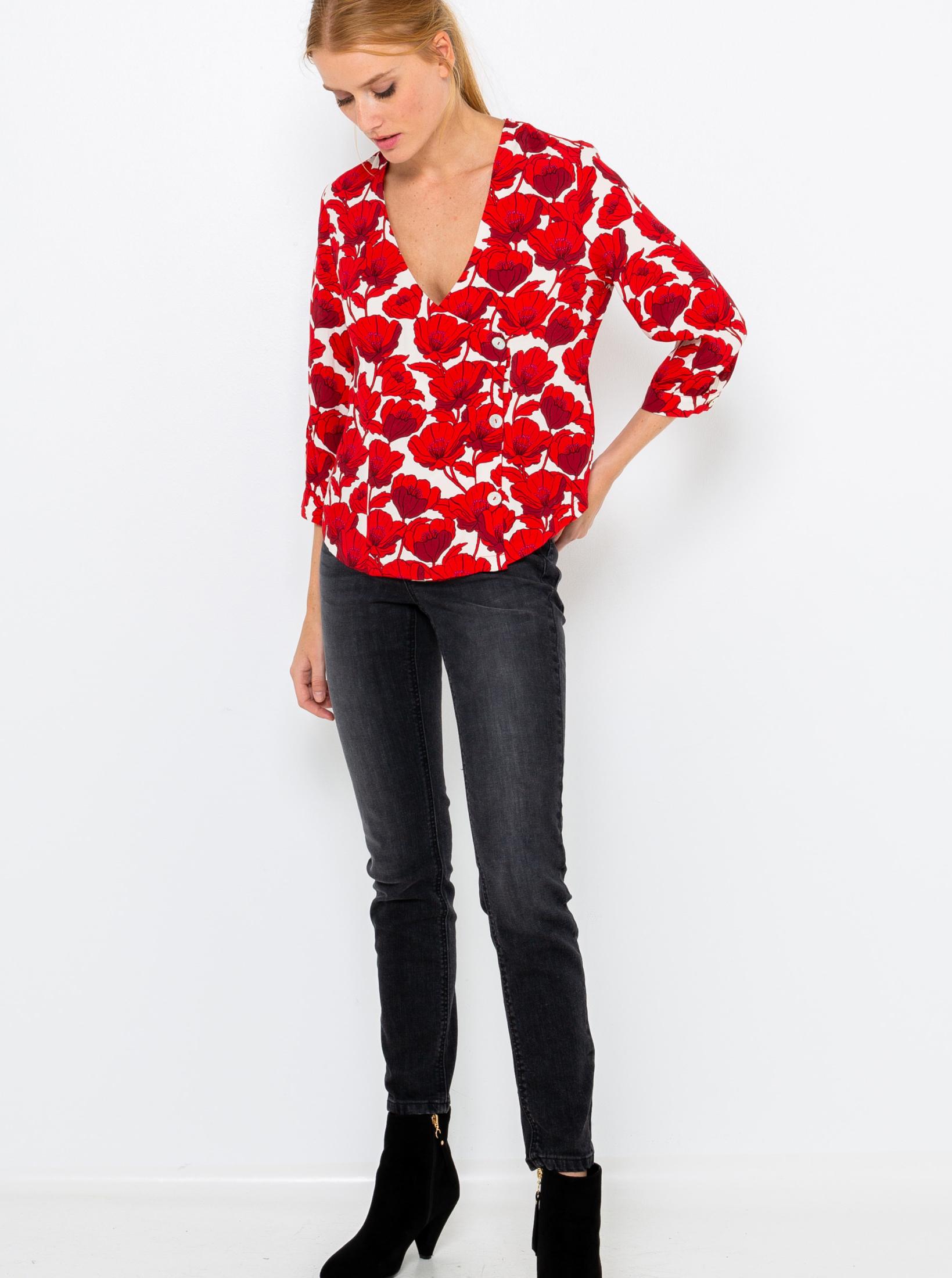 CAMAIEU rosso camicetta con motivo floreale