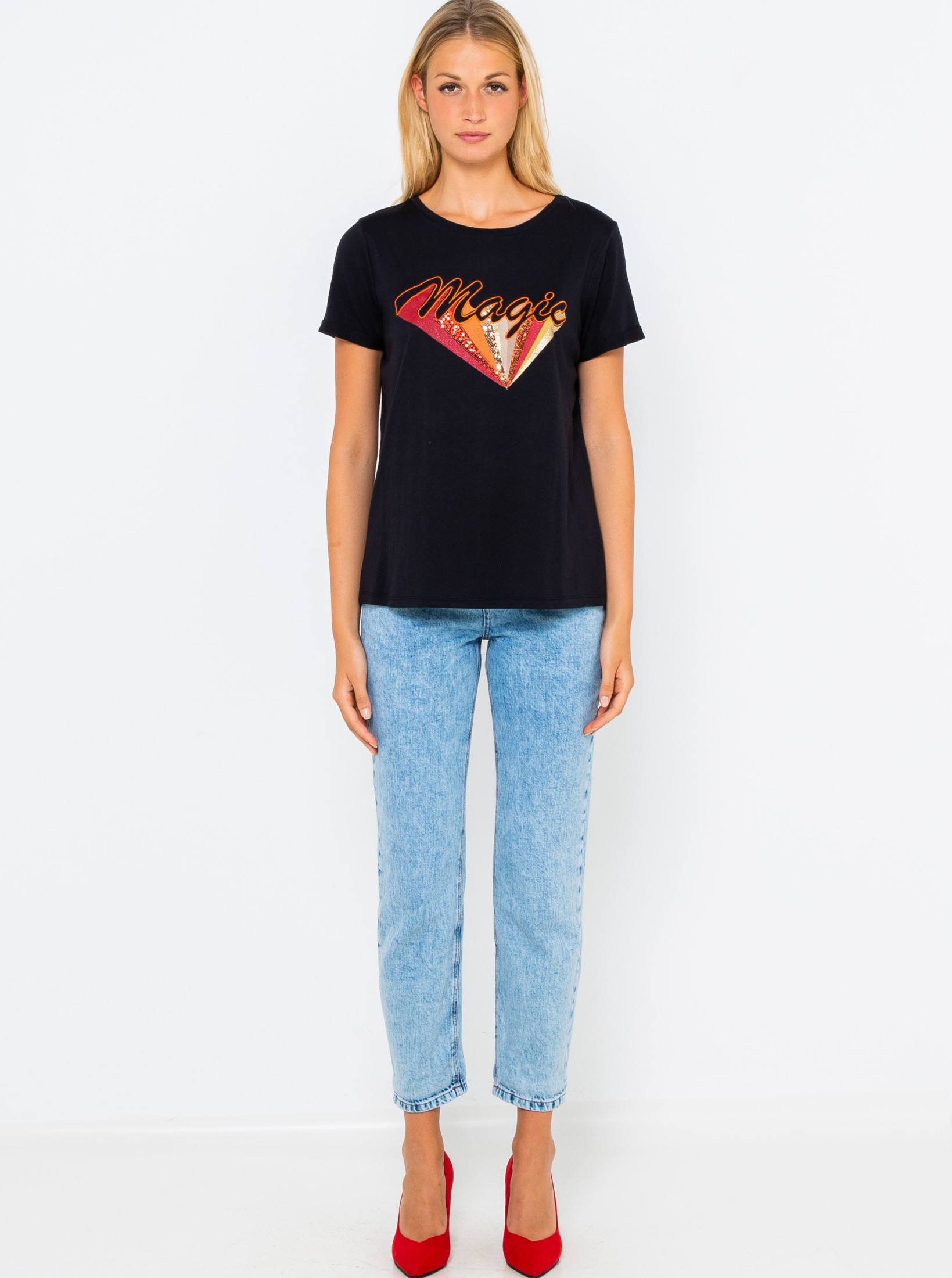 CAMAIEU nero da donna maglietta con stampa