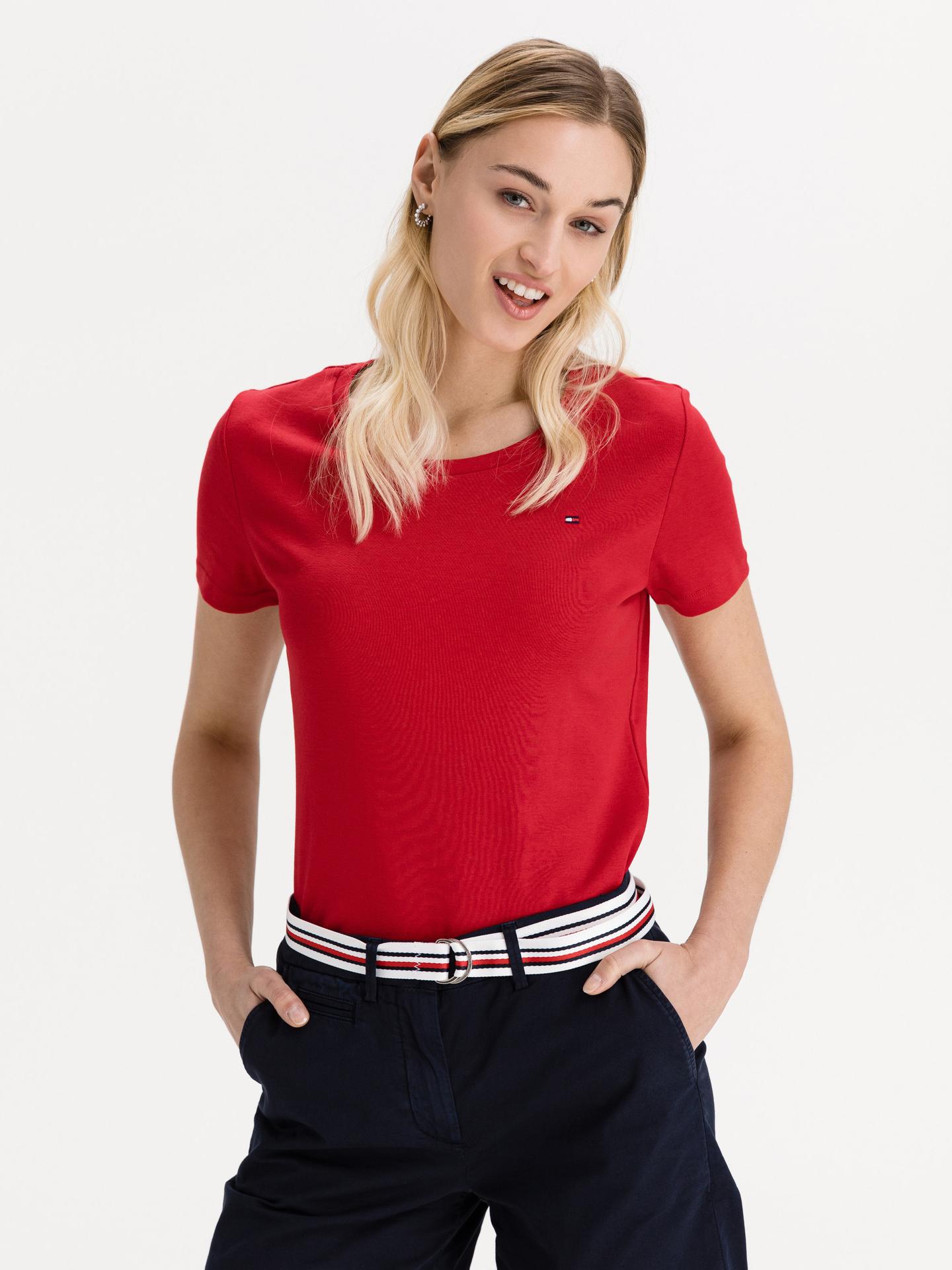 Tommy Hilfiger rosso da donna maglietta Slim Round