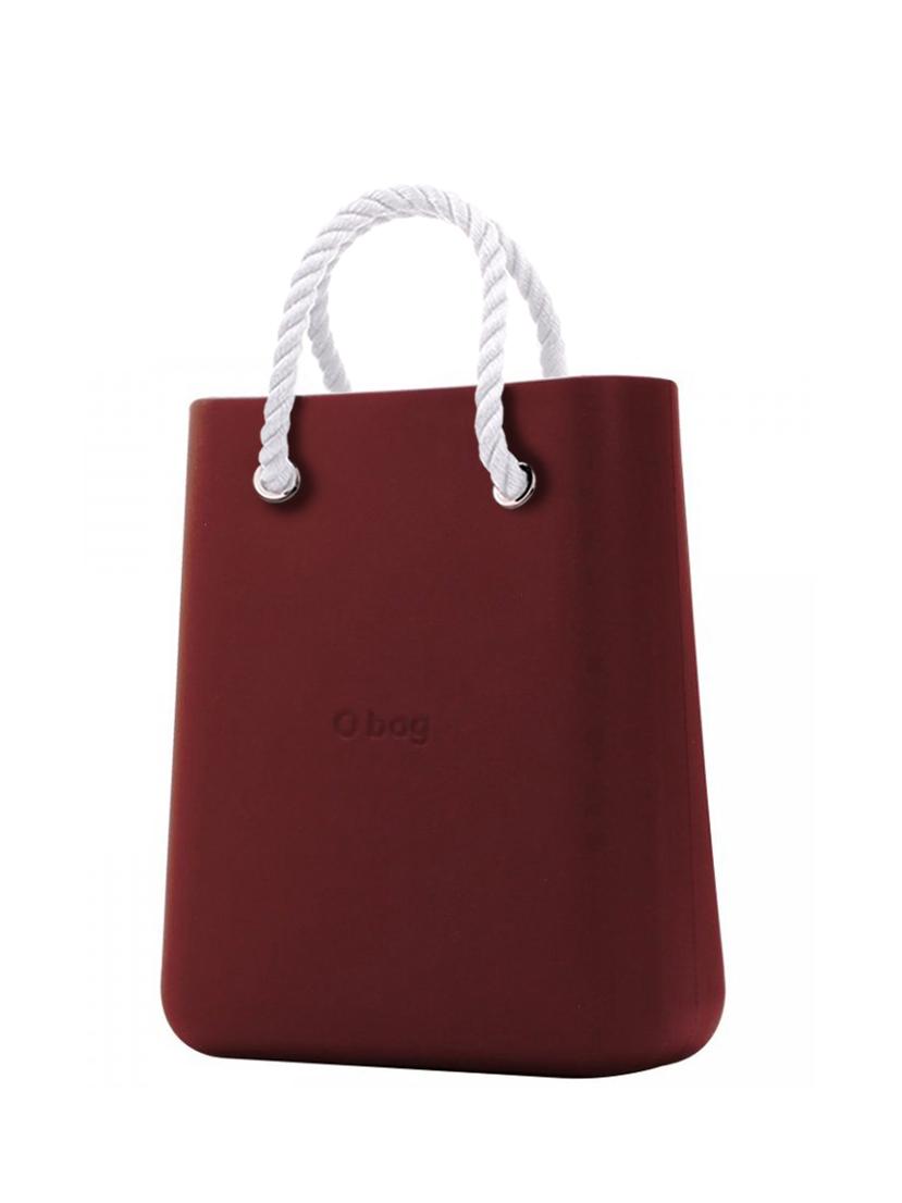 O bag  borsetta O Chic Bordeaux con corde corte bianco