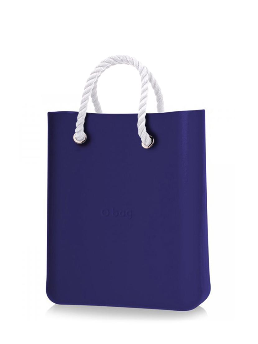 O bag  blu borsetta O Chic Iris con corde corte bianco