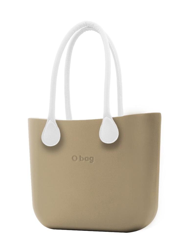 O bag  borsetta Sabbia con manici lunghi in ecopelle bianco