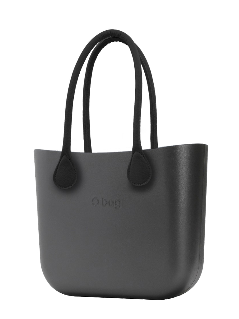 O bag  borsetta MINI Grafite con manici in ecopelle nero