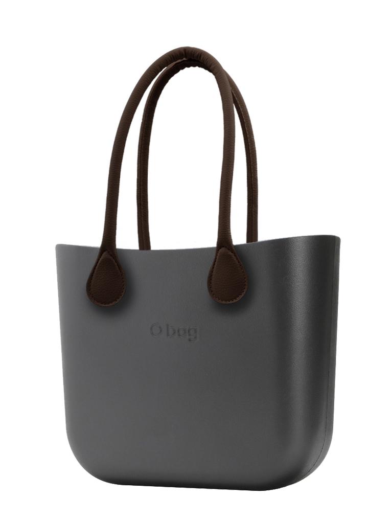 O bag  borsetta MINI Grafite con manici lunghi in ecopelle marrone