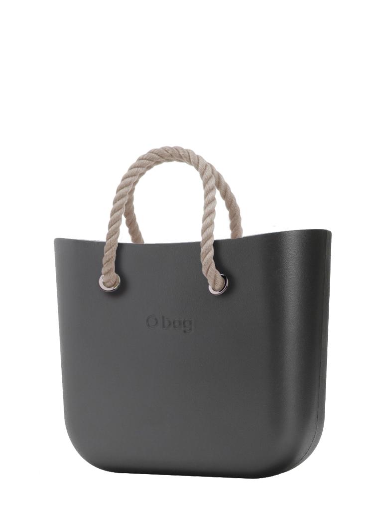 O bag  borsetta MINI Grafite con corde corte natural
