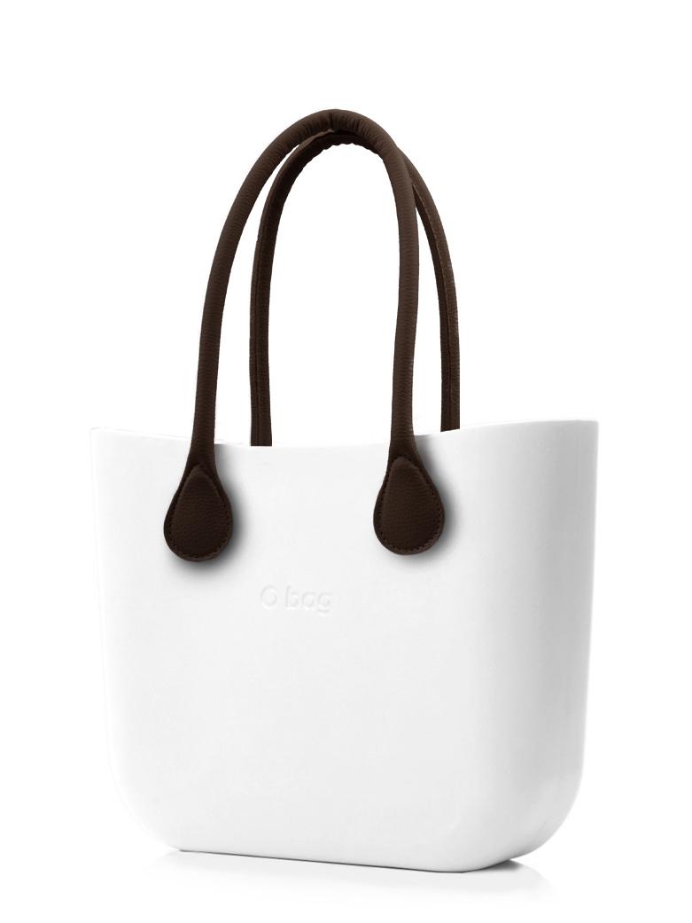 O bag  bianco borsetta MINI Bianco con manici lunghi in ecopelle marrone