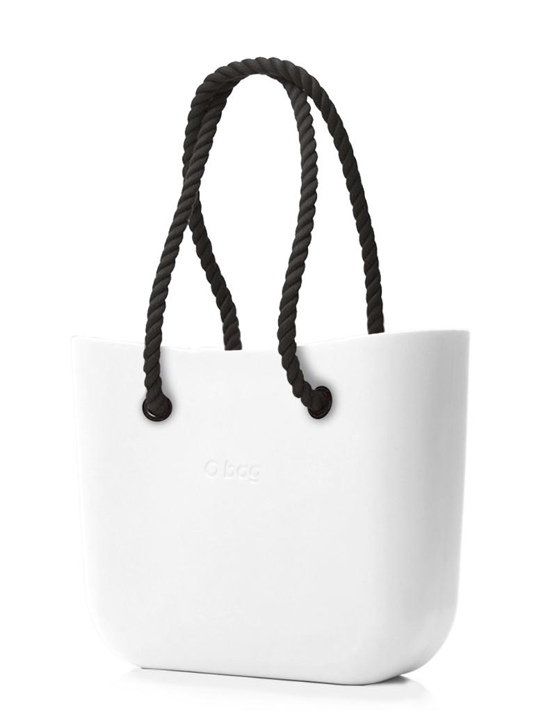 O bag  bianco MINI borsetta Bianco con corde lunghe nero
