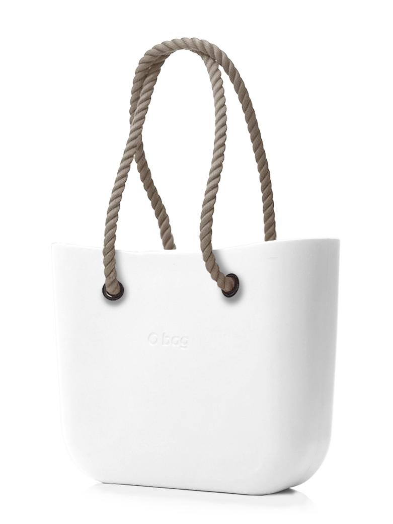 O bag  bianco borsetta MINI Bianco con corde lunghe natural