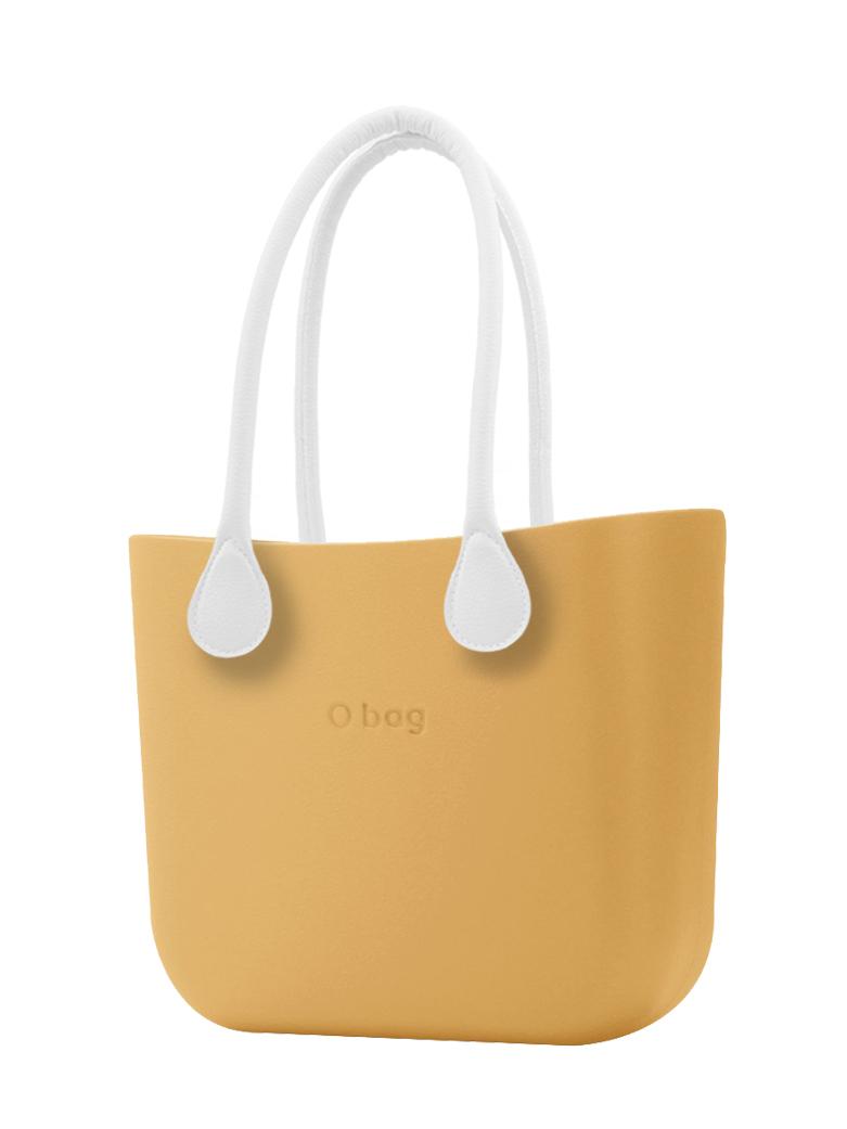 O bag  borsetta Caramello con manici lunghi in ecopelle bianco