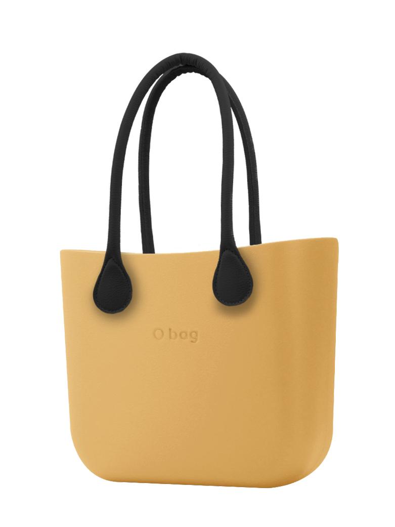 O bag  borsetta Caramello con manici in ecopelle nero