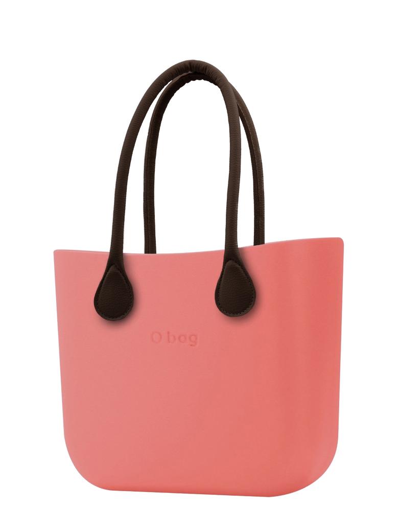 O bag  borsetta MINI Corallo con manici lunghi in ecopelle marrone