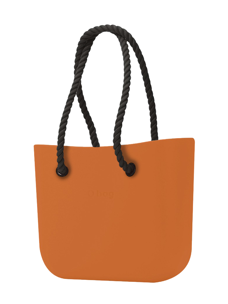 O bag  arancione borsetta Mattone con corde lunghe nero