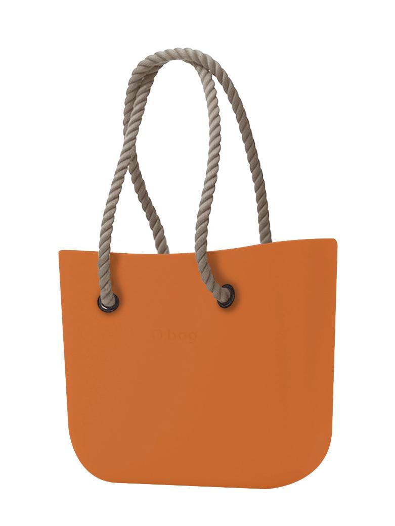 O bag  arancione borsetta Mattone con corde lunghe natural