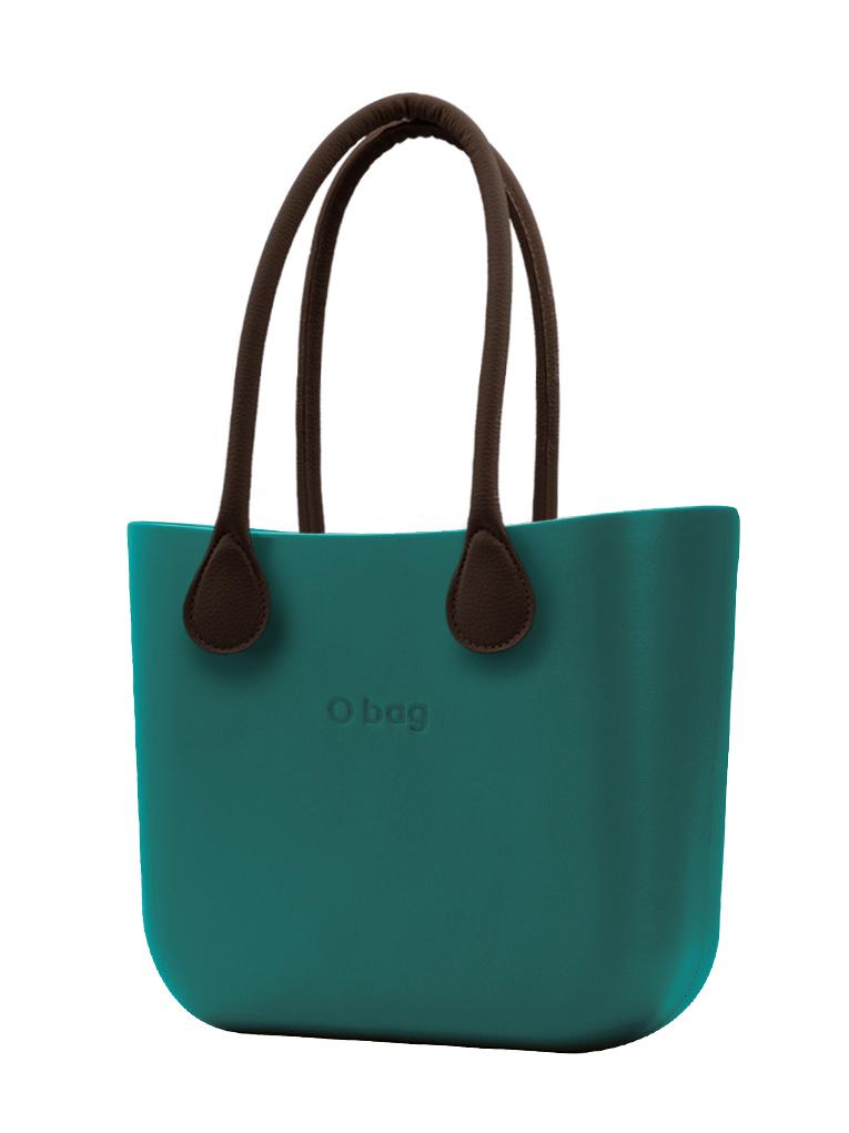 O bag  borsetta MINI Petrolio con manici lunghi in ecopelle marrone