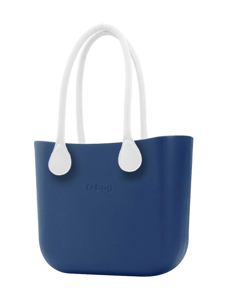 O bag  blu MINI borsetta Bluette con manici lunghi in ecopelle bianco