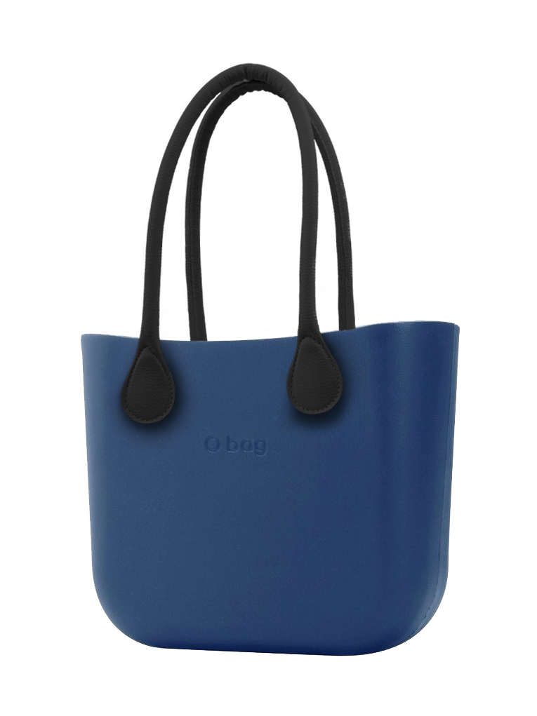 O bag  blu borsetta MINI Bluette con manici in ecopelle nero