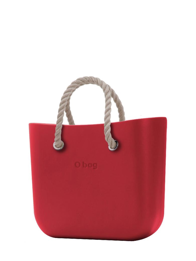 O bag  borsetta Rosso con corde corte natural