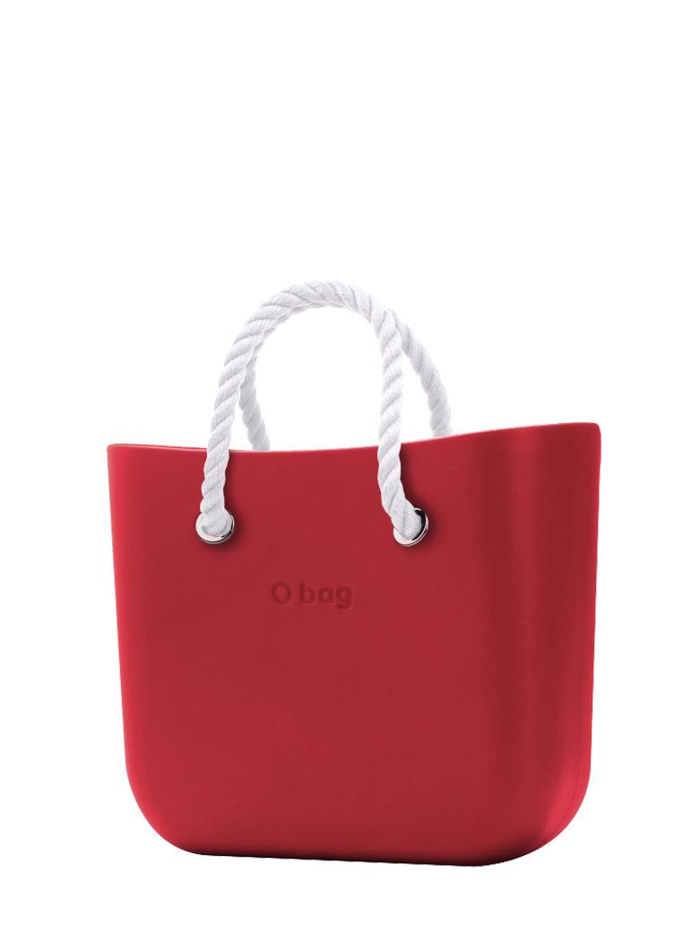 O bag  borsetta Rosso con corde corte bianco
