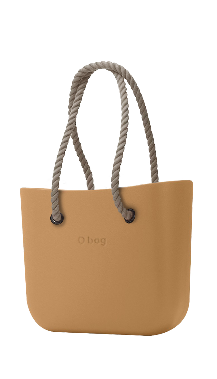 O bag  nocciola borsetta MINI Biscotto con corde lunghe natural