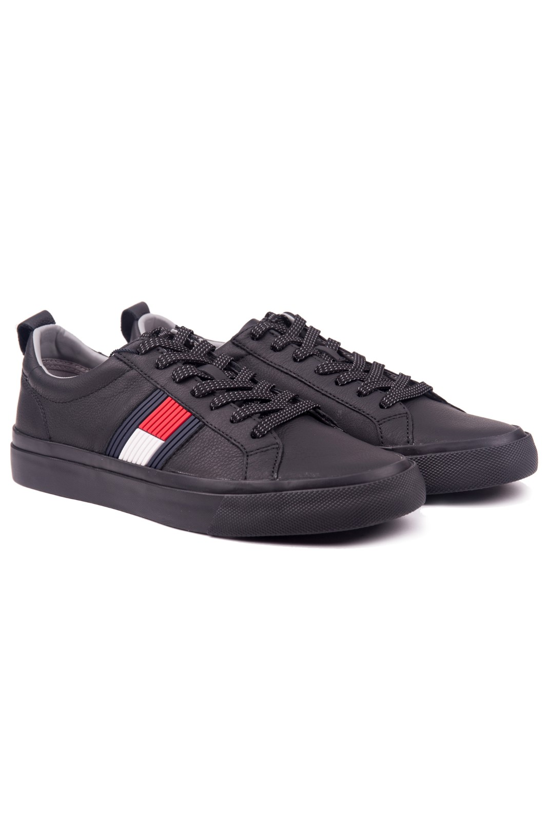 Slip shoes pipe Amount of  Tommy Hilfiger nero maschile pelle scarpe da ginnastica Flag Detail Leather  Sneaker Black - Scarpe da uomo • Differenta.it