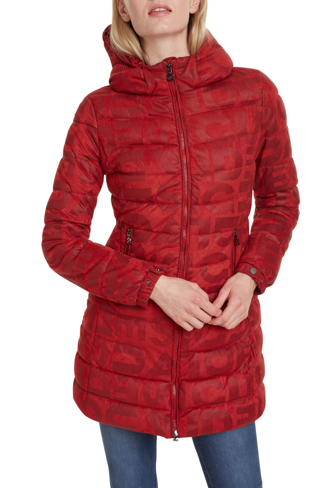 Desigual cappotto Padded Letras rosso