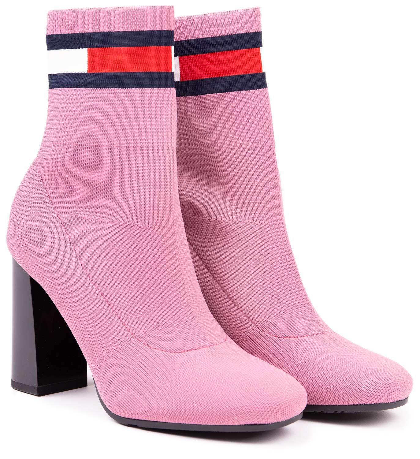 Tommy Hilfiger rosa calzino con tacco scarpe Sock Heeled Boot Heather Rose