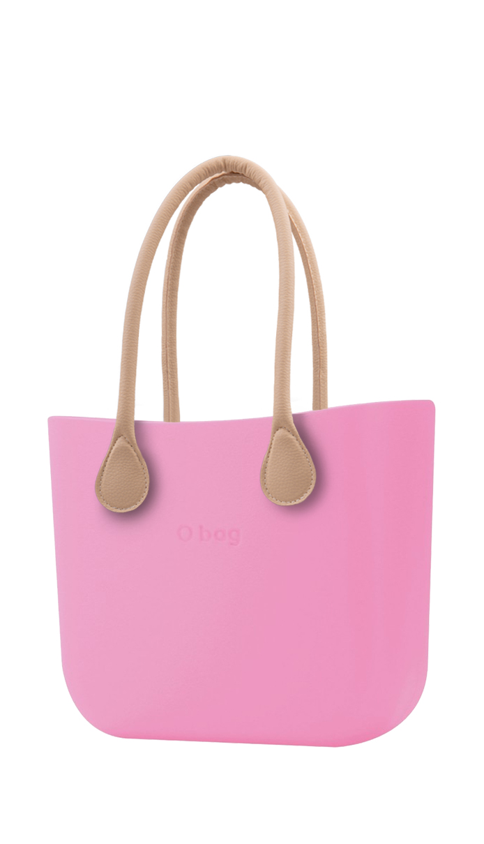 O bag Pink con manico in ecopelle lungo natural