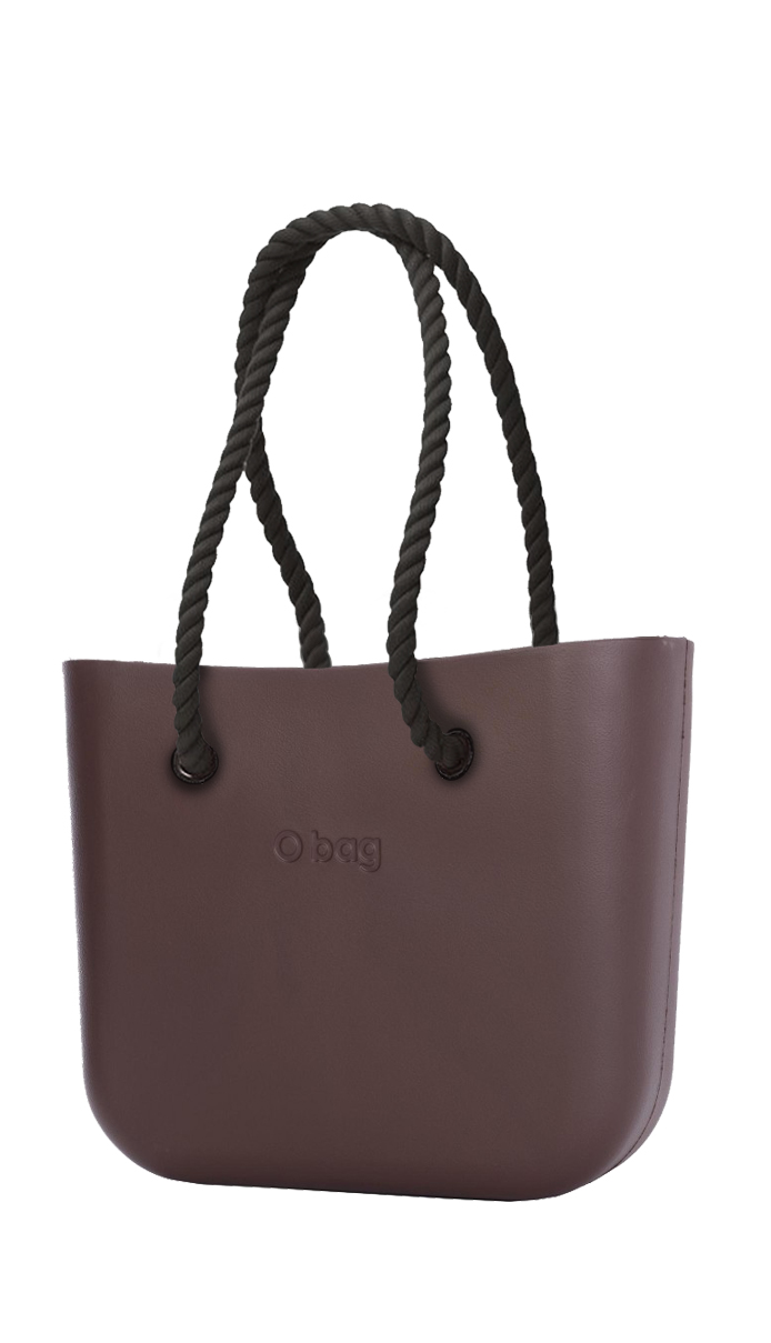 O bag  marrone borsetta Chocolate con corde lunghe nero