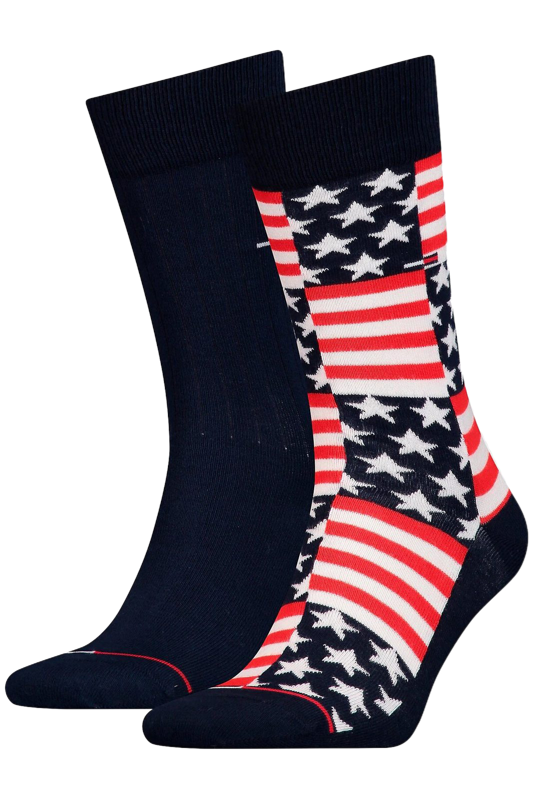 Tommy Hilfiger 2 pacchi calze TH Jeans Sock 2P American Flag