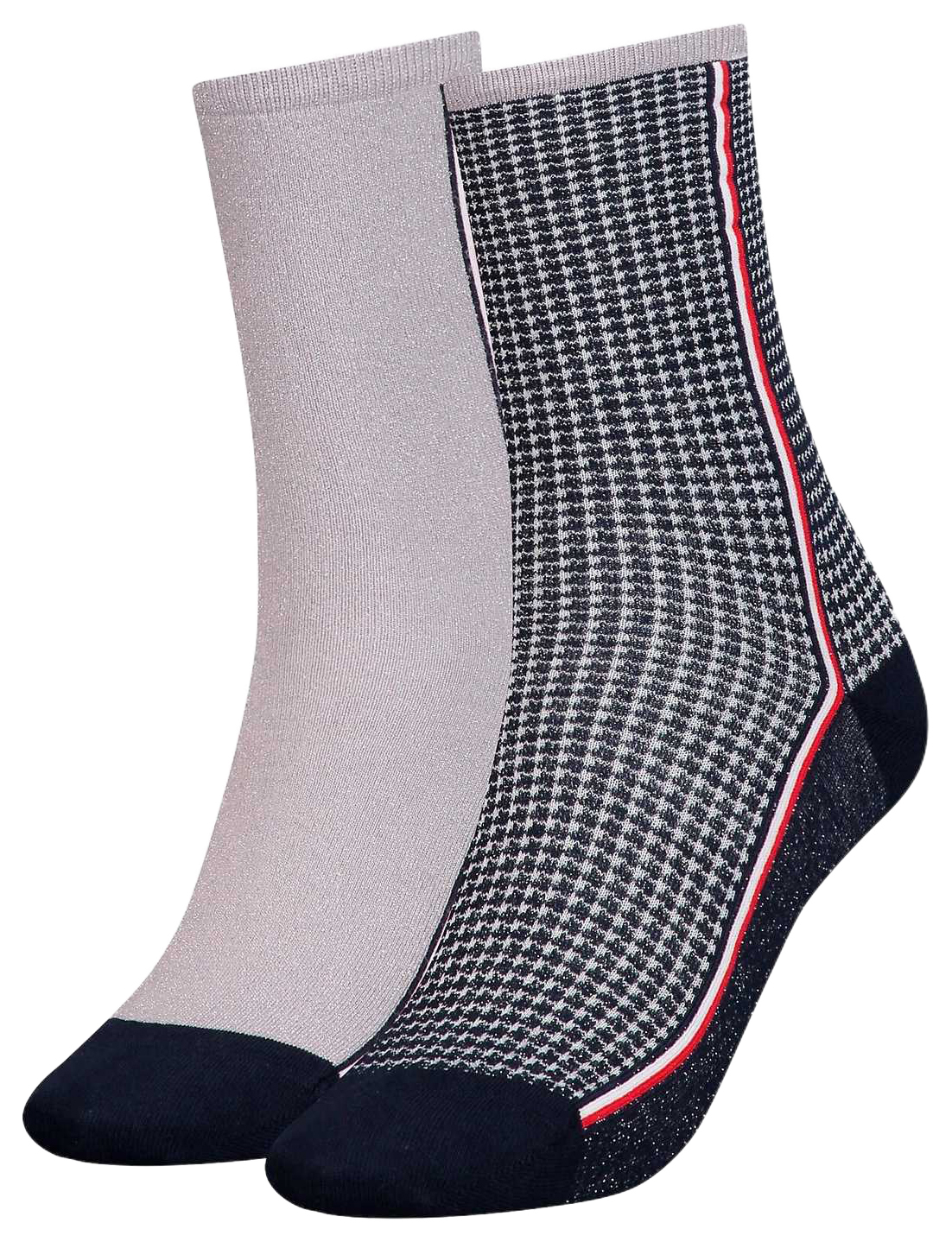 Tommy Hilfiger 2 pacchi calze TH Women Sock 2P Houndstooth Lurex