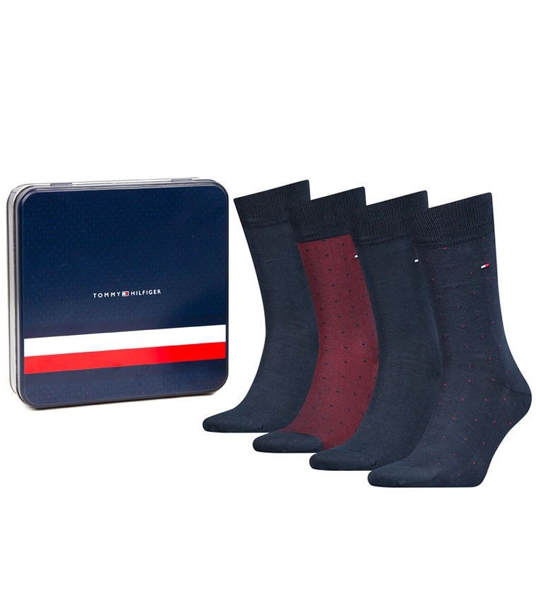 Tommy Hilfiger 4 pacchi da uomo calzino TH Men Mixed Dots Giftbox 4P